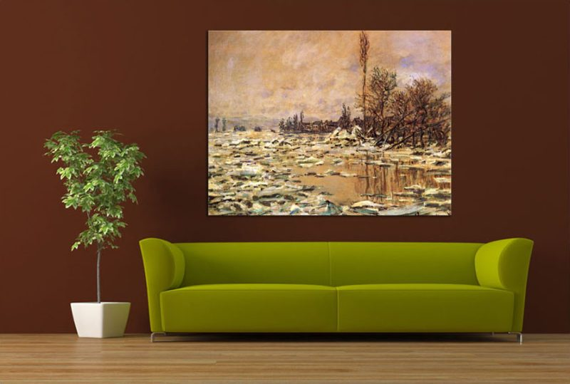 monet break up of the ice Museum quality oil painting reproductions ice breaking up on the seine near  bennecourt painting hand-painted painting on canvas direct from studio.