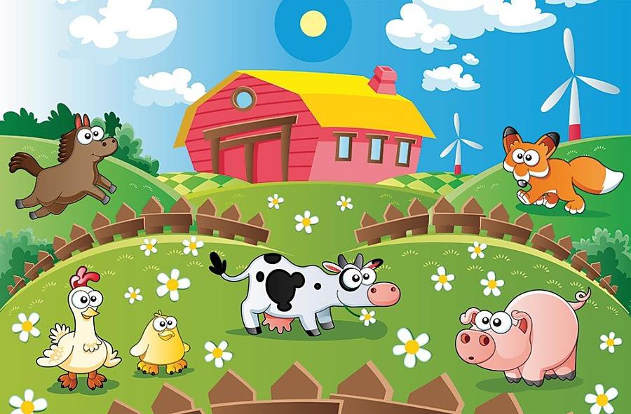 Zvieratká na farme - fototapeta FS0673 | Detské tapety na stenu ...