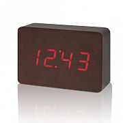 Budík na stôl, Brick Leatherette Click Clock / Red LED , Gingko - Koža