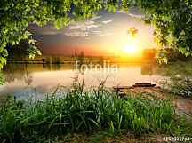 Fototapeta Reflection of sunset in river ft-199852604 - samolepiaca na stenu