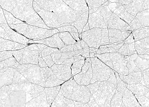 London - black white map - fototapeta FX3342