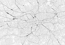 London - grey map - fototapeta FXL3342