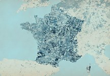 Franc Blue Map - fototapeta FXL3343