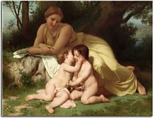 William-Adolphe Bouguereau - Young Woman Contemplating Two Embracing Children zs10171