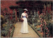 Edmund Blair Leighton obraz - Lady in a Garden  zs10219