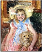 Mary Cassatt Reprodukcie - Sara in a large Flowered Hat zs10311