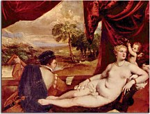 Tizian Obrazy - Venus and the Lute Player zs10440