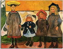 Obraz Edvard Munch - Four girls in Arsgardstrand zs16661