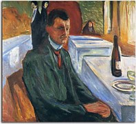 Self-portrait with bottle of wine Obraz Munch zs16679