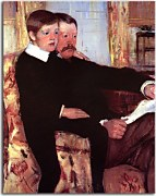 Obrazy Mary Cassatt - Portrait of Alexander J. Cassat and His Son Robert Kelso Cassatt zs17525