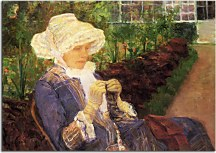 Lydia crocheting in the garden at marly zs17535