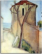 Reprodukcie Amedeo Modigliani - Tree and house zs17650