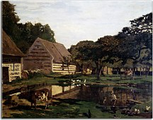 A Farmyard in Normandy Obraz Monet  zs17697