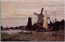 Windmill at Zaandam Obraz Monet  zs17698