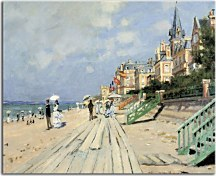 The Boardwalk on the Beach at Trouville - Reprodukcia Claude Monet zs17706
