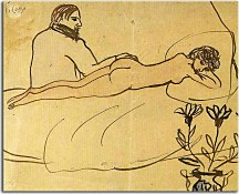 Obraz Picasso - Nude with Piacsso by her feet zs17891