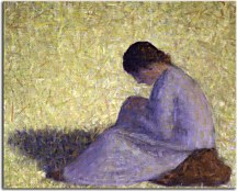 Peasant Woman Seated in the Grass - Georges Seurat Obraz zs18148