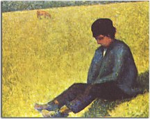 Peasant boy sitting in a meadow - Georges Seurat Obraz zs18149