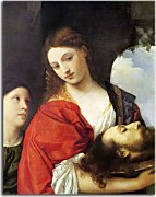Tizian obraz - obraz Judith with the Head of Holofernes zs18335