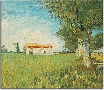 Reprodukcie Vincent van Gogh - Farmhouse in a Wheat Field zs18389
